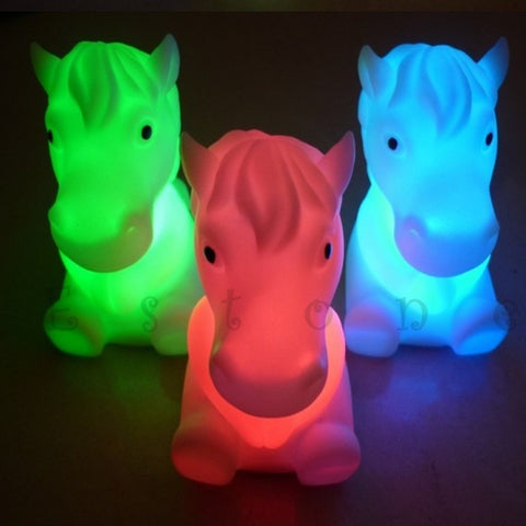 Small Children Room Horse Shape 7 Color Changeing LED Lamp