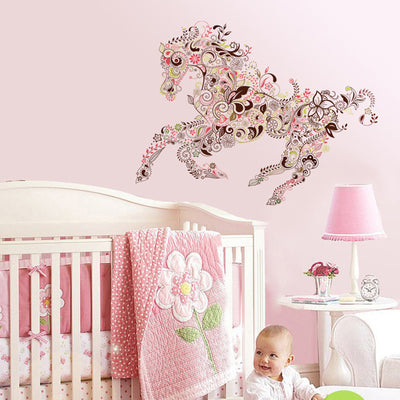 Galloping Horse Flower Pattern Removable Wall Sticker Decal