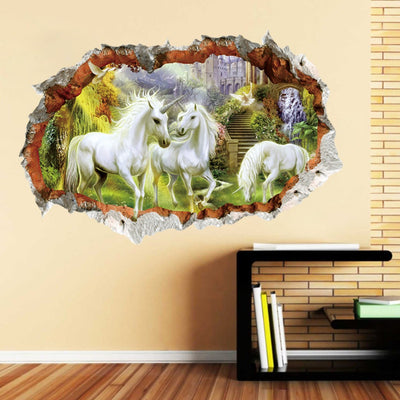 Magical White Unicorn Horses 3D Effect Wall Sticker Decal