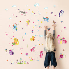 Colorful Unicorn Ponies and Butterflies Height Measure Wall Decal Sticker for Kids Room
