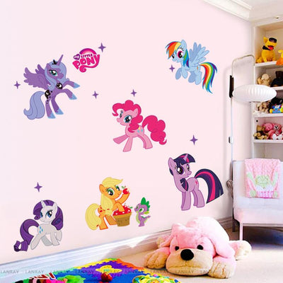 Six Colorful Unicorn Ponies Wall Stickers for Kids Room or Nursery