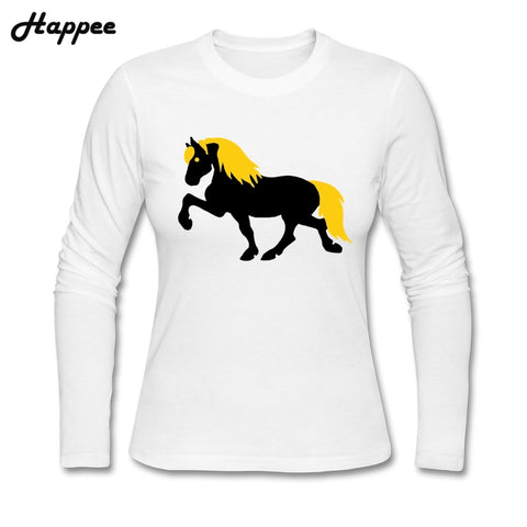 Iceland Horse Illustration Long Sleeves T Shirt 100% Cotton