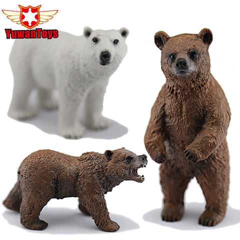 Action Figures Bears - Alaska Grizzly, Brown, Polar Bear