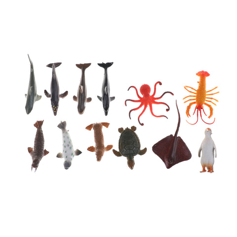 12PCS/Set  - Shark, Whale, Crab, Fish, Penguin Miniature Sea Ocean & Marine Figures 4.5- 8cm