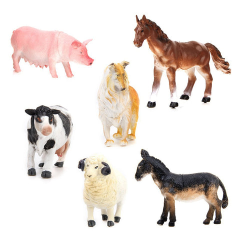 Farm Animal Model Set-  Pig Dog Cow Sheep Horse Donkey