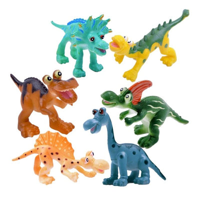 6 Pcs/Lot Rubber Cartoon Wild Animal Figure - Dinosaur, Giraffe, Elephant, Lion, Zebra, Dog, Horse