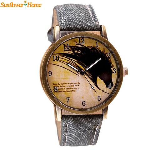 Vintage Style Horse Painting Quartz Wrist Watch