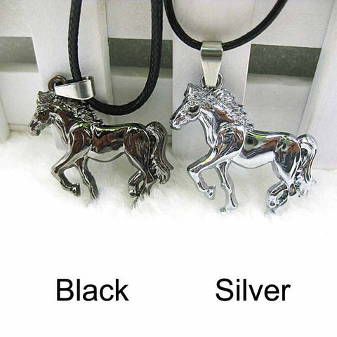 Horse Pendant Leather Necklace
