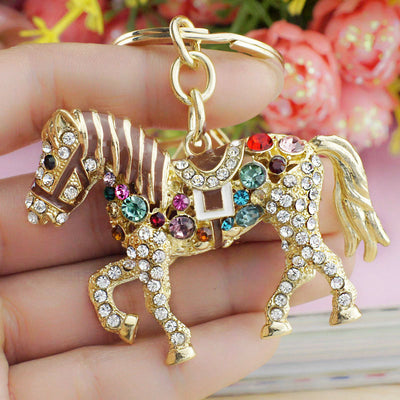 Multi color Rhinestone Crystal Horse Bag Pendant or Key Ring