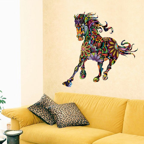 Abstract Colorful Flower Horse Pattern Wall Decal
