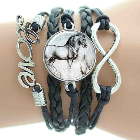 Horse Infinity Leather Cords Wrap - Free Shipping!