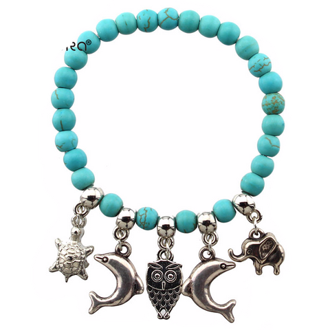 Turquoise Color Beads with Dolphin, Owl, Elephant & Tortoise Pendants Bracelet