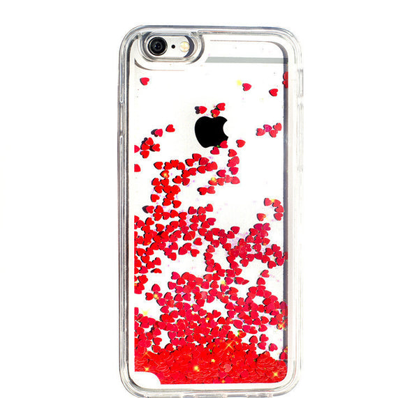 Liquid Glitter iPhone Case (Red Hearts)