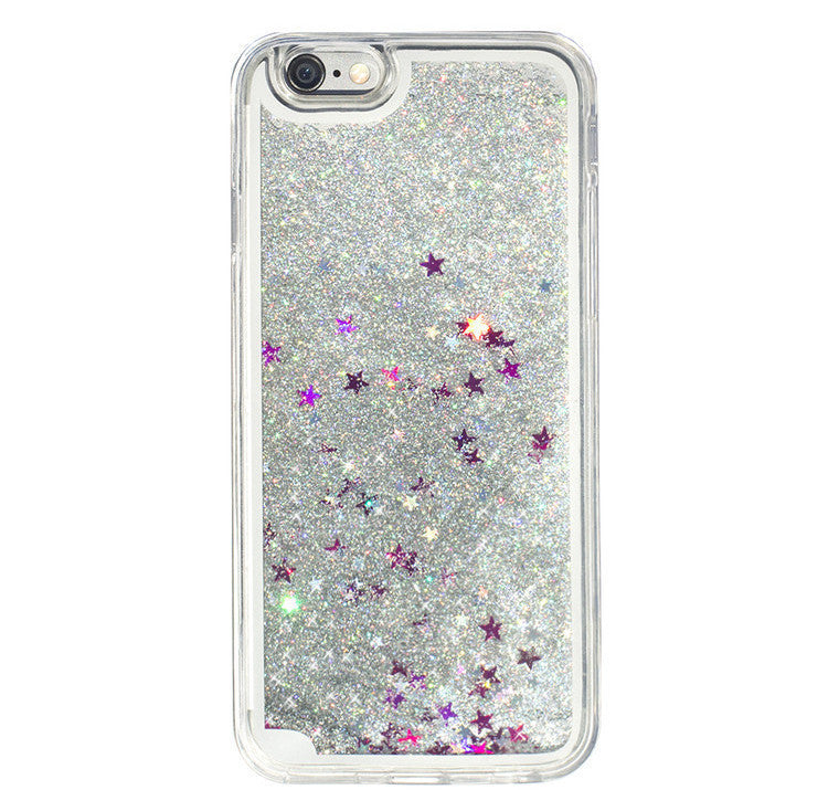 Liquid Glitter iPhone Case (Silver Stars)