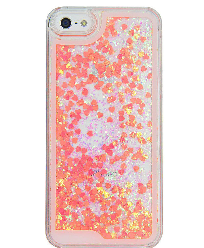 Liquid Glitter iPhone Case ( PEACH HEARTS )
