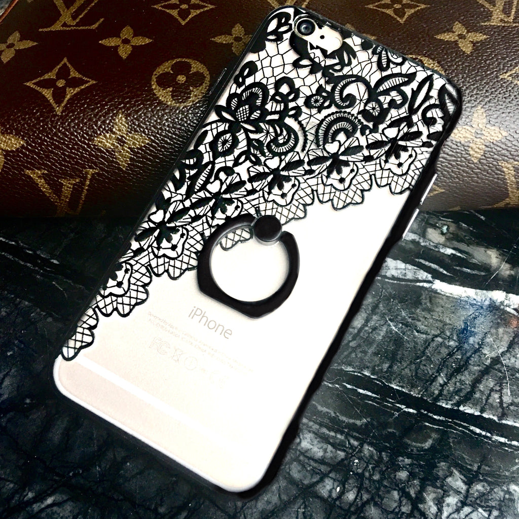 Lace Designer Case with Ring Grip