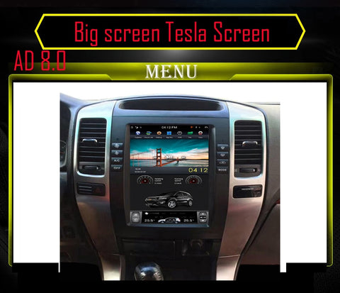 Black and Silver 10.4 Vertical Screen Android OS Car Multimedia GPS Navigation Radio Player For TOYOTA Prado Lexus GX 470