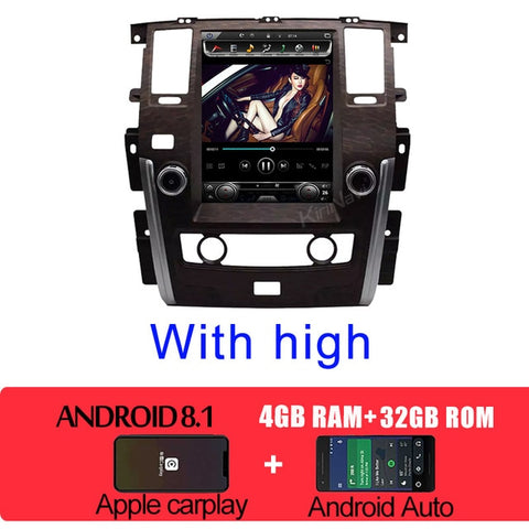 "Vertical Screen Tesla Style 12.1"" Android 8.1 Car Multimedia Dvd Navigation for Nissan Patrol Radio Automotivo 2010+"