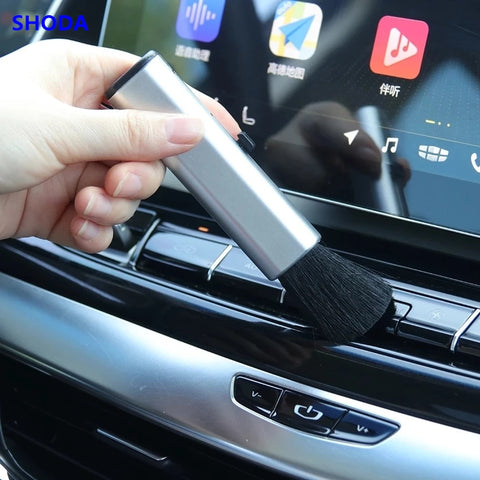 SHODA Car Air Outlet Adjustable Cleaning Brush Air Outlet Dusting Brush Car Instrument Panel Seams Brush