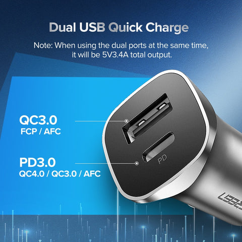 Ugreen Quick Charge 4.0 3.0 QC USB Car Charger for Xiaomi QC4.0 QC3.0 20W Type C PD Car Charging for iPhone 12 X Xs 8 PD Charger