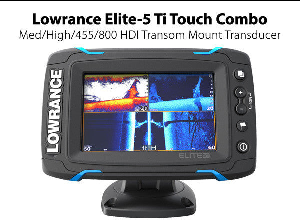 Lowrance Elite-5 Ti Touch Combo - Med/High/455/800 HDI Transom Mount Transducer