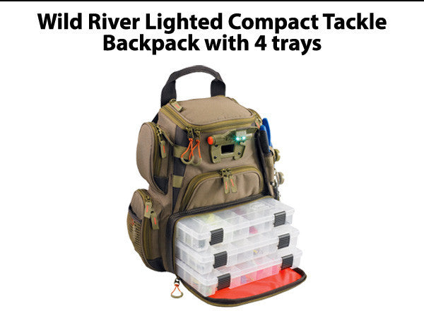 Wild River Recon Lighted Compact Tackle Backpack with 4 trays