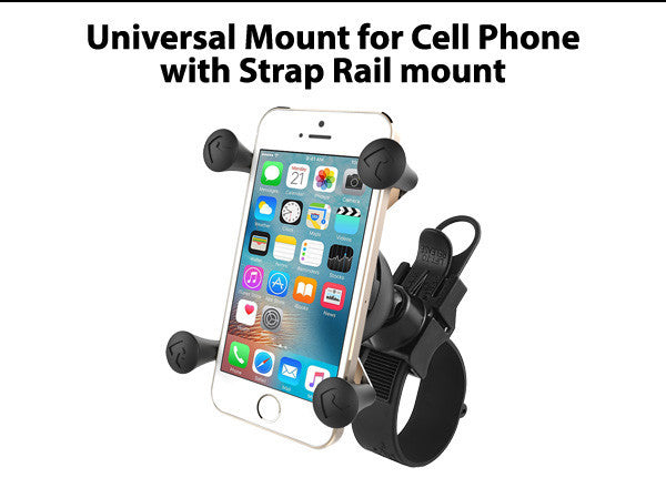 Universal Mount for Cell Phone with Strap Rail mount