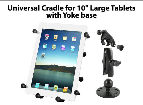"Universal Cradle for 10"" Large Tablets with Yoke base"