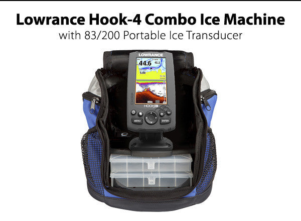 Lowrance Hook-4 Combo Ice Machine with 83/200 Portable Ice Transducer