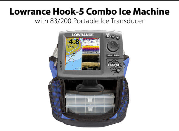 Lowrance Hook-5 Combo Ice Machine with 83/200 Portable Ice Transducer
