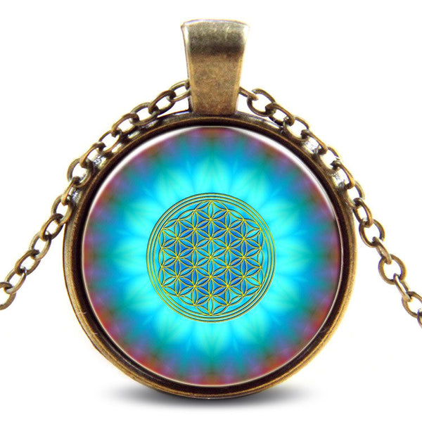 Blue Flower of Life Necklace