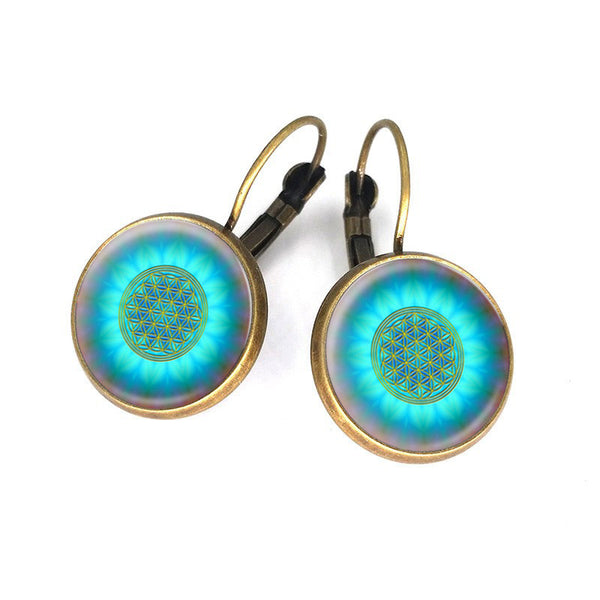 Blue Flower of Life Earrings