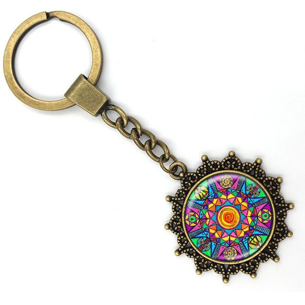 Stained Glass Mandala Keychain