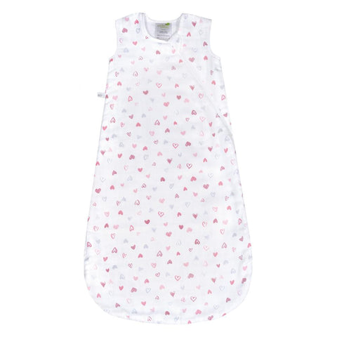 Cotton muslin sleep bag - Hearts (0.7 tog)
