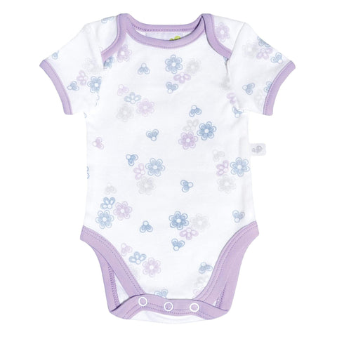 Cotton knit onesie -flowers