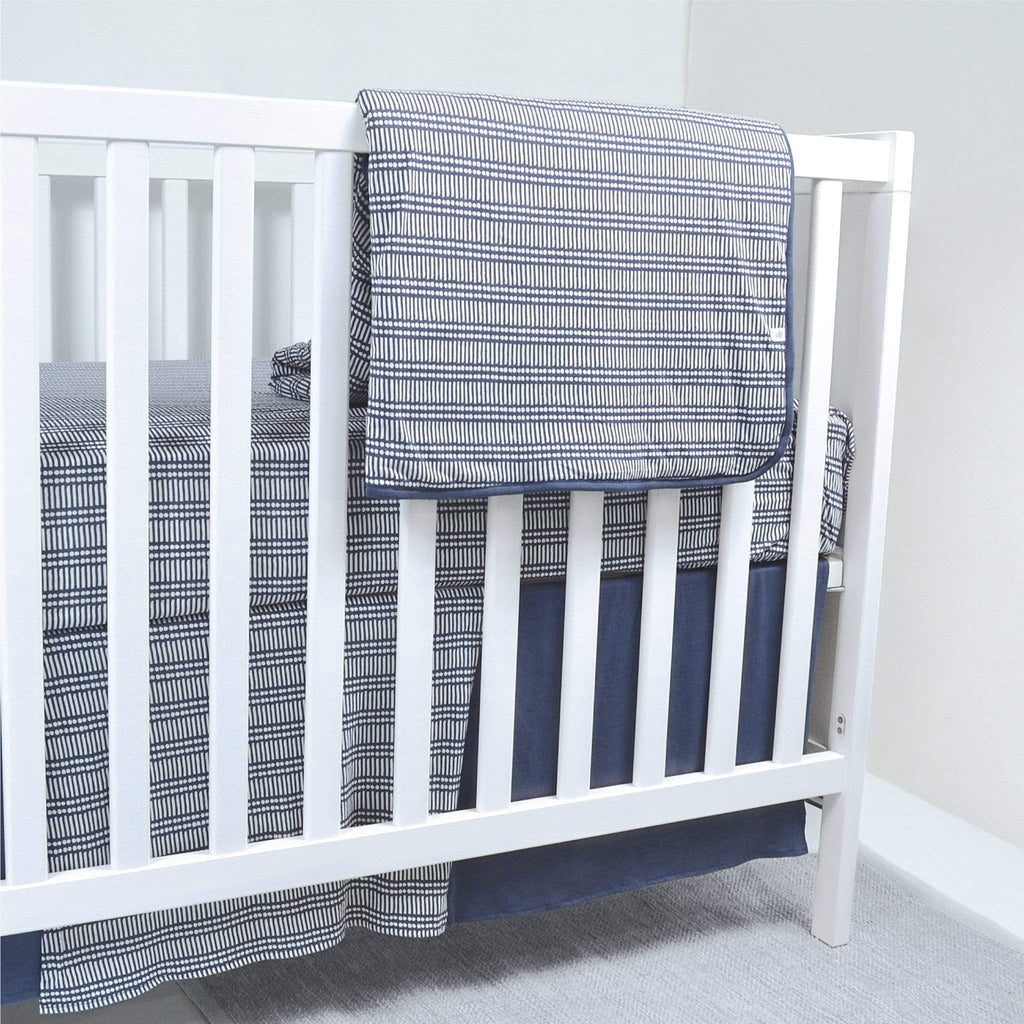 Bamboo crib bedding - Navy Sticks