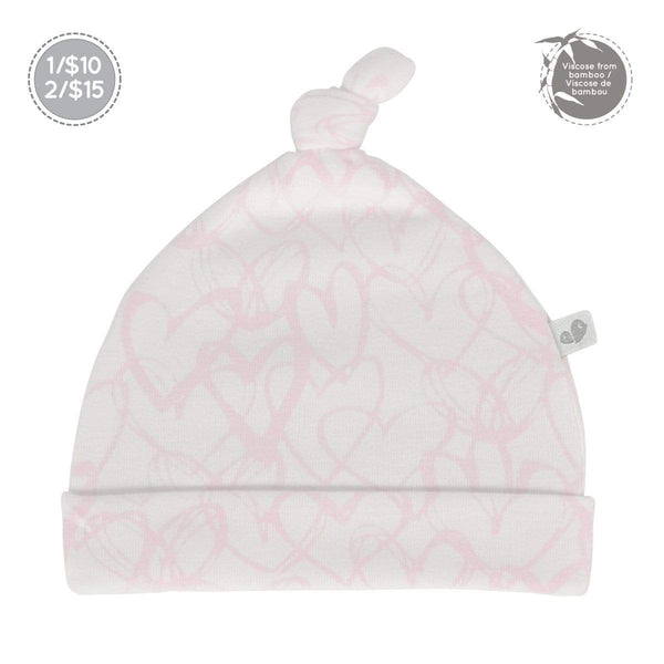 Bamboo knotted hat - hearts print