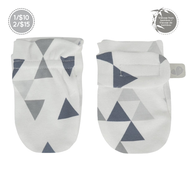 Bamboo scratch mitts - triangles print