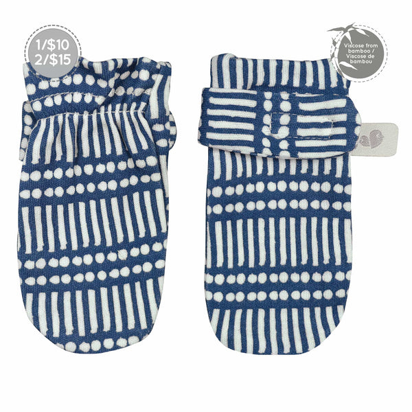 Bamboo scratch mitts - Navy Sticks