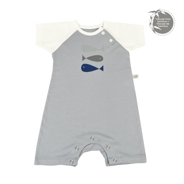 Bamboo boy romper - souris (grey)