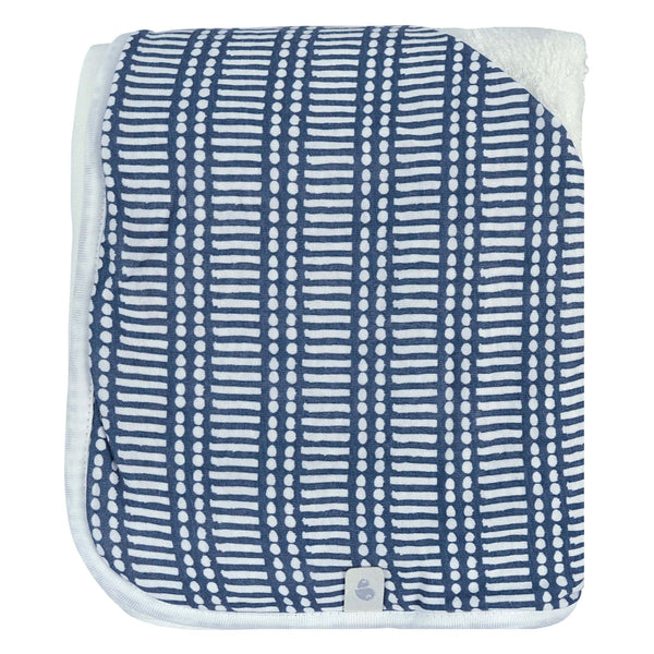 Bamboo hooded towel - Navy Sticks
