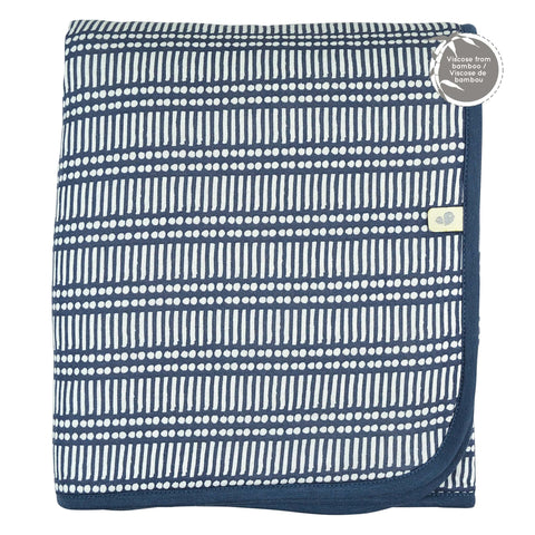 Bamboo quilted blanket - Navy Sticks