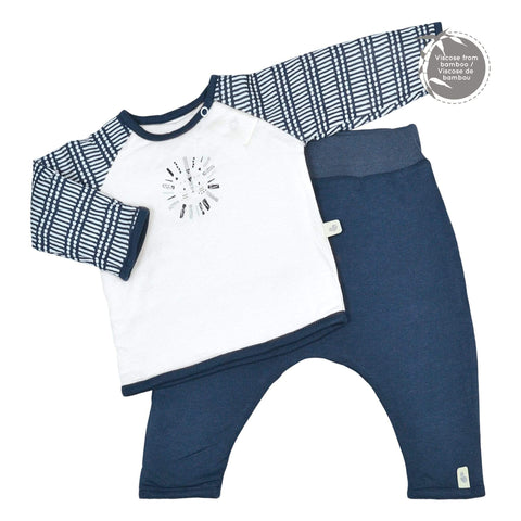Quilted bamboo T-shirt & lounge pants - Navy Sticks