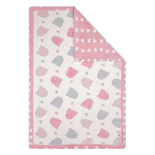 Reversible plush blanket - owls & hearts