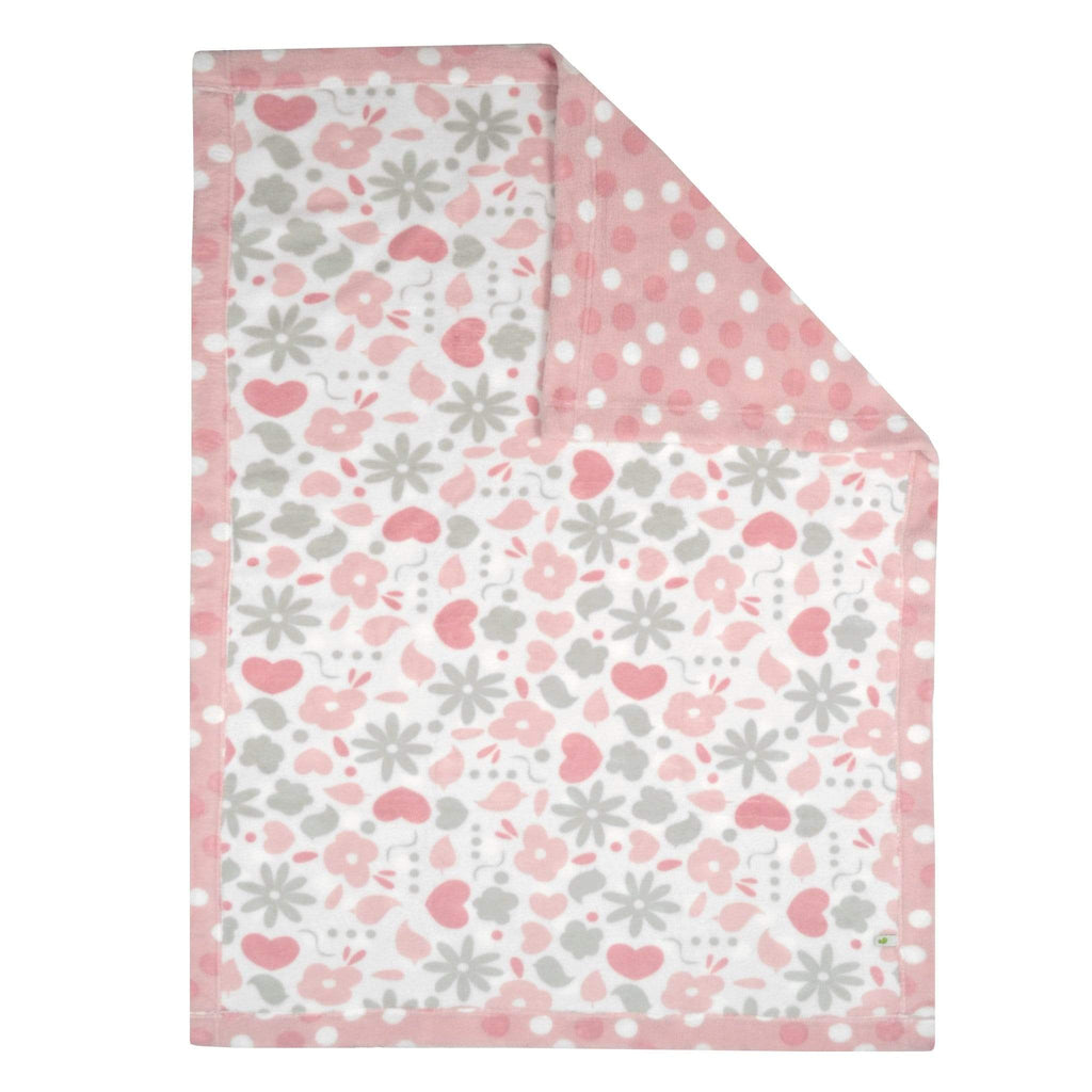 Reversible plush blanket - garden & dots