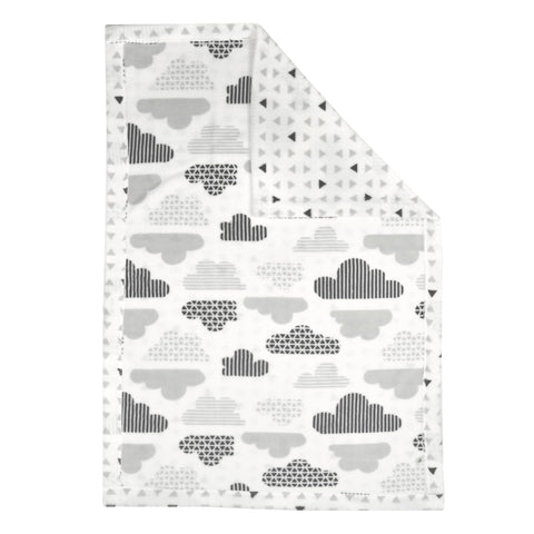 Reversible plush blanket - clouds & triangles
