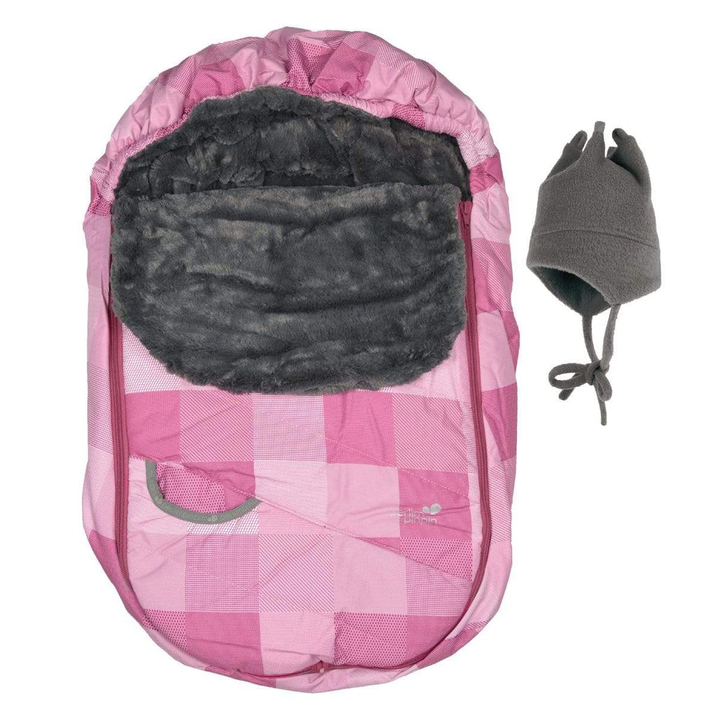 Baby Winter car seat cover - pink plaid