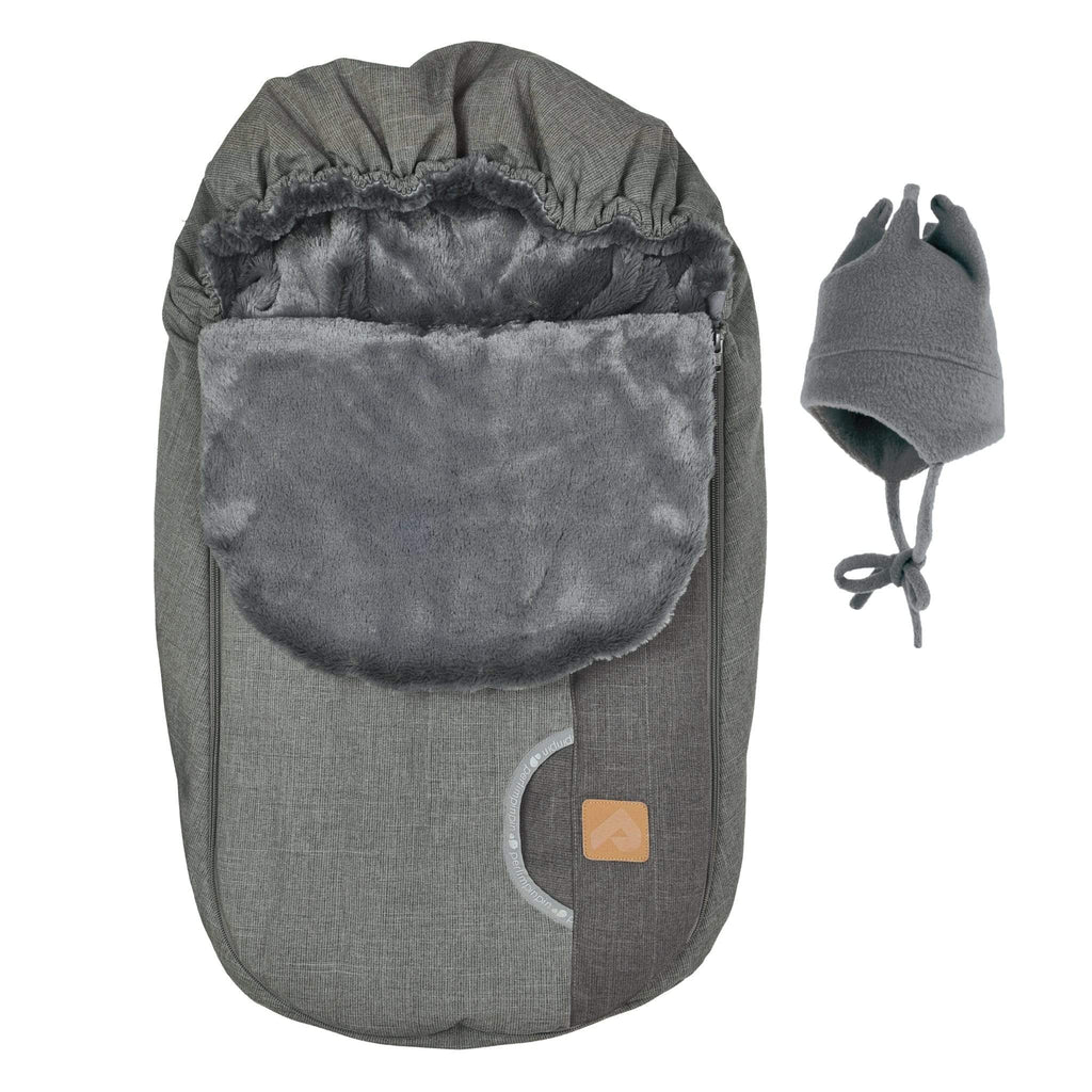 Baby car seat cover for Winter - Kaki and coal