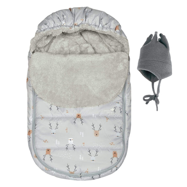Baby car seat cover for Winter - grey deer