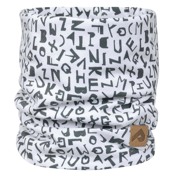 Cotton jersey neck warmer - White alphabet